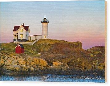 Sunset At Nubble Lighthouse Wood Print