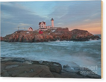 Sunset At Nubble Lighthouse Wood Print by Sharon Seaward