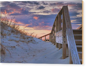 Sunset At Ocracoke Wood Print by Steven Ainsworth