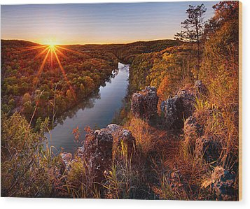 Sunset At Paint-rock Bluff Wood Print by Robert Charity