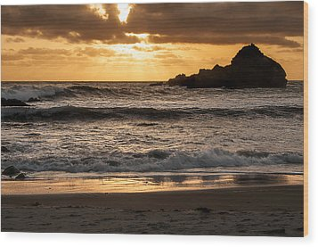 Wood Print featuring the photograph Sunset At Pfeiffer State Beach by Lee Kirchhevel