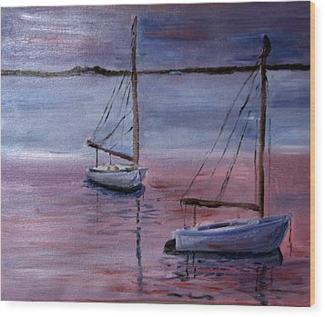 Wood Print featuring the painting Sunset At Pleasant Bay by Michael Helfen