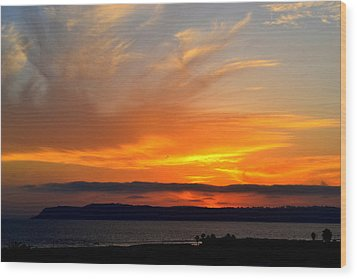 Sunset At Point Loma From Coronado California Wood Print