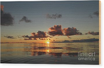 Wood Print featuring the photograph Sunset At Sea by Laura  Wong-Rose