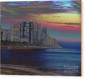 Sunset At Seagate Beach  Wood Print by Doris Wood