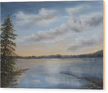 Sunset At Sparta Lake New Jersey Wood Print