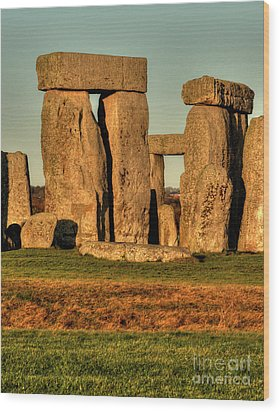 Sunset At Stonehenge 2 Wood Print