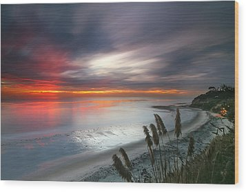 Sunset At Swamis Beach 4 Wood Print by Larry Marshall