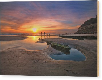 Sunset At Swamis Beach 5 Wood Print by Larry Marshall