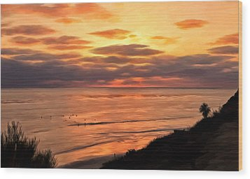 Wood Print featuring the painting Sunset At Swami's Encinitas by Michael Pickett