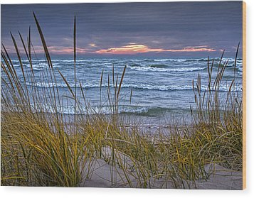 Sunset On The Beach At Lake Michigan With Dune Grass Wood Print by Randall Nyhof