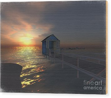Sunset At The Beach Wood Print by Susanne Baumann