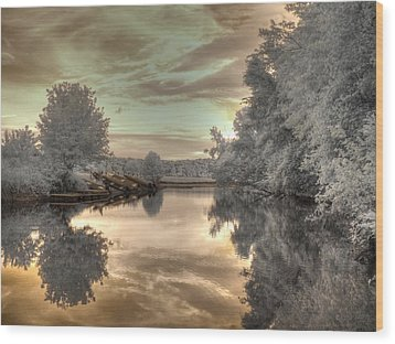 Sunset At The Boathouse Wood Print by Jane Linders