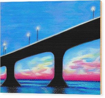Sunset At The Bridge Wood Print
