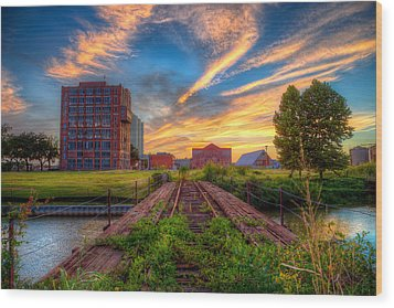 Sunset At The Imperial Sugar Factory Early Stage Landscape Wood Print