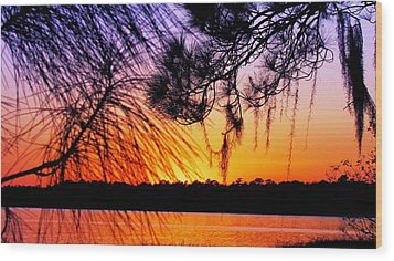 Sunset At The Lake 2 Wood Print by Will Boutin Photos