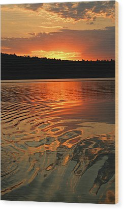 Sunset At The Lake Wood Print by Barbara West