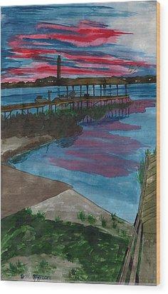 Sunset At The Lake Clay Boat Ramp Wood Print