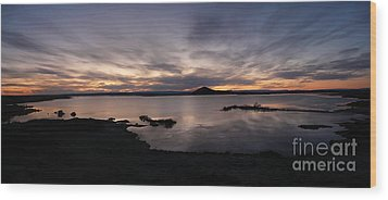 Sunset Over Lake Myvatn In Iceland Wood Print