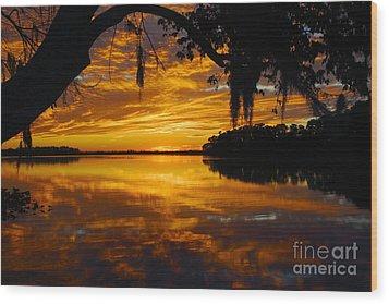 Sunset At The Lake Wood Print by Rick Mann