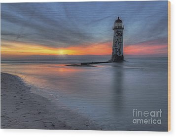 Sunset At The Lighthouse V3 Wood Print