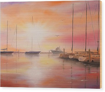 Sunset At The Marina Wood Print by Chris Fraser