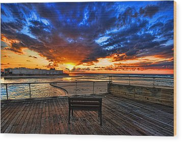 Wood Print featuring the photograph sunset at the port of Tel Aviv by Ron Shoshani