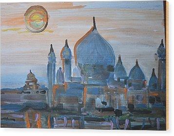 Sunset At The Taj Wood Print