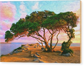 Sunset At The Wedge In Newport Beach Wood Print by Michael Pickett