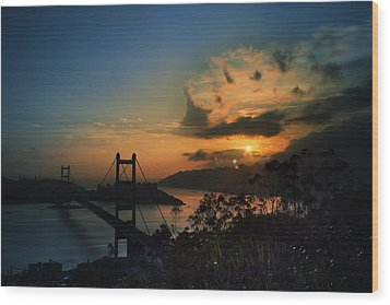 Wood Print featuring the photograph Sunset At Tsing Ma Bridge by Afrison Ma