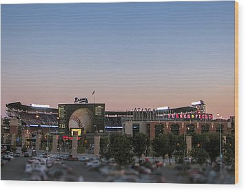 Sunset At Turner Field Wood Print by Tom Gort