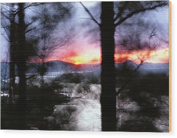 Sunset Atop Windy Emerald Park Wood Print by Jason Politte