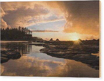 Sunset Bay Reflections Wood Print by Patricia Davidson