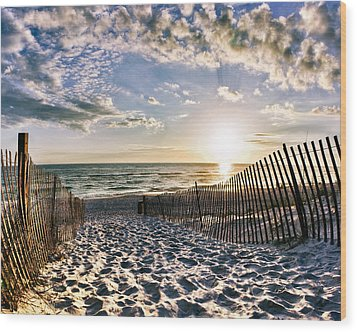 Wood Print featuring the photograph Sunset Beach 30a Rosemary Florida White Sand Pathway Art by Eszra