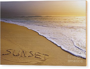 Sunset Beach Wood Print by Carlos Caetano