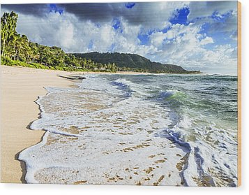 Wood Print featuring the photograph Sunset Beach Foamy Shoreline by Aloha Art