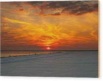 Wood Print featuring the photograph Sunset Beach New York by Chris Lord