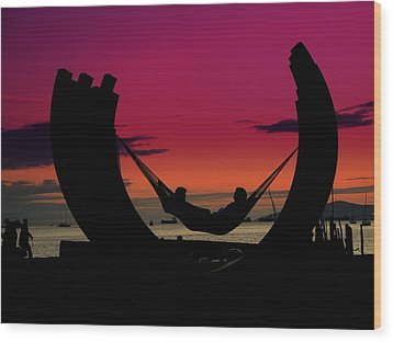 Sunset Beach Relaxation Wood Print by Brian Chase