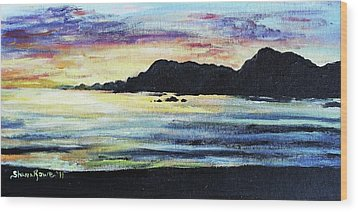 Wood Print featuring the painting Sunset Beach by Shana Rowe Jackson