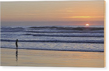 Wood Print featuring the photograph Sunset Beach Stroll  by AJ  Schibig