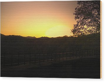 Wood Print featuring the photograph Sunset Behind Hills by Jonny D
