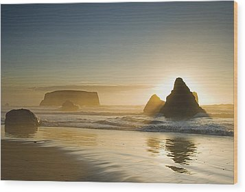Sunset Behind Offshore Rocks Bandon Wood Print by Philippe Widling