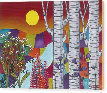 Wood Print featuring the painting Sunset Birches by Carla Bank