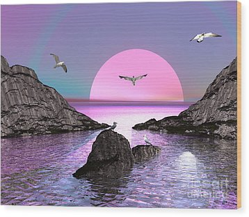 Sunset Birds In Flight Wood Print