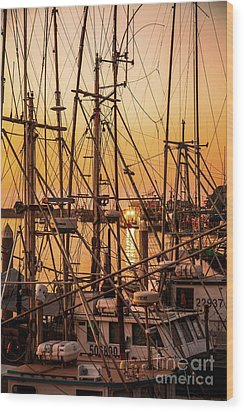 Sunset Boat Masts At Dock Morro Bay Marina Fine Art Photography Print Sale Wood Print