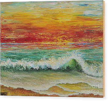 Wood Print featuring the painting Sunset Breeze by Teresa Wegrzyn