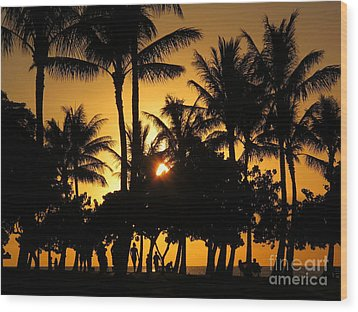 Sunset By The Beach Wood Print by Ranjini Kandasamy