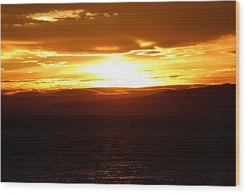 Sunset By The Fjord Wood Print