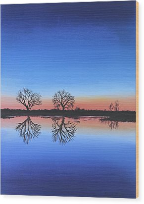 Sunset By The River Thames Wood Print