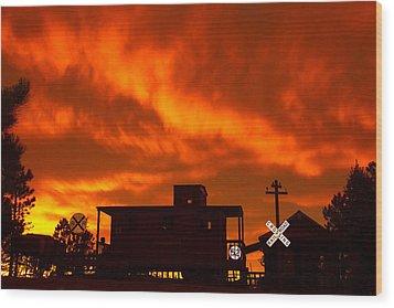 Sunset Caboose Wood Print